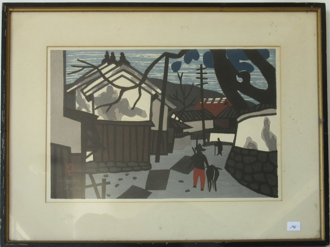 Kinyoshi Saito Japanese woodblock print, 11 by 15.5