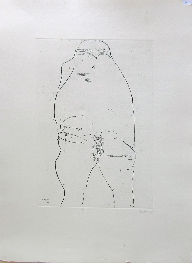 Leonard Baskin lithograph, 28 by 20 inches, signed