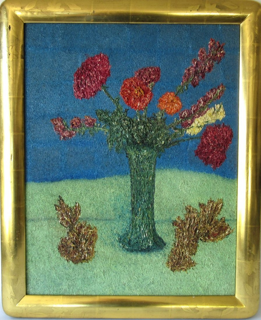 Attributed to Samuel Rothbort oil on board floral still
