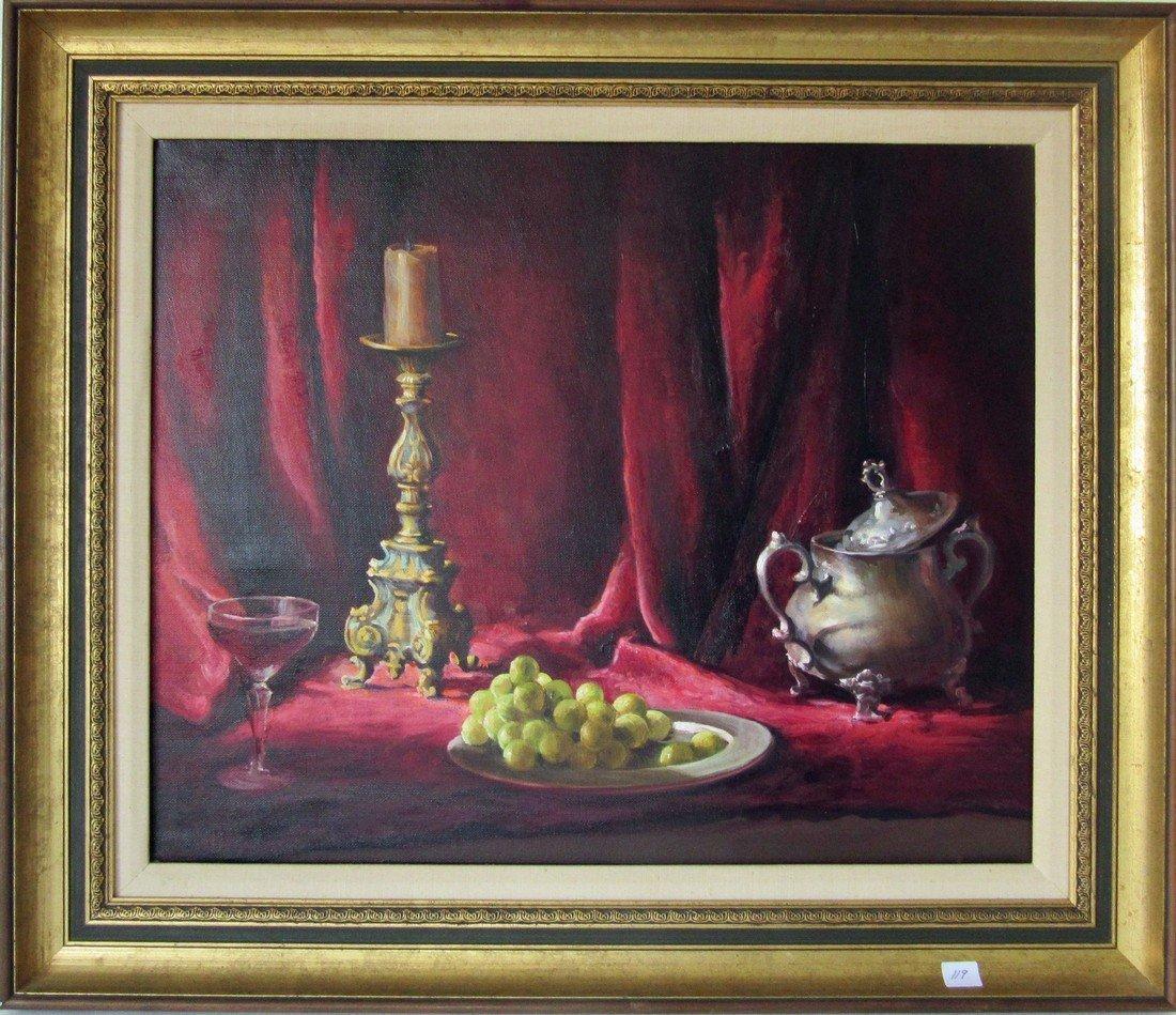 Helen Van Wyk oil on canvas still life, 18 by 22.5