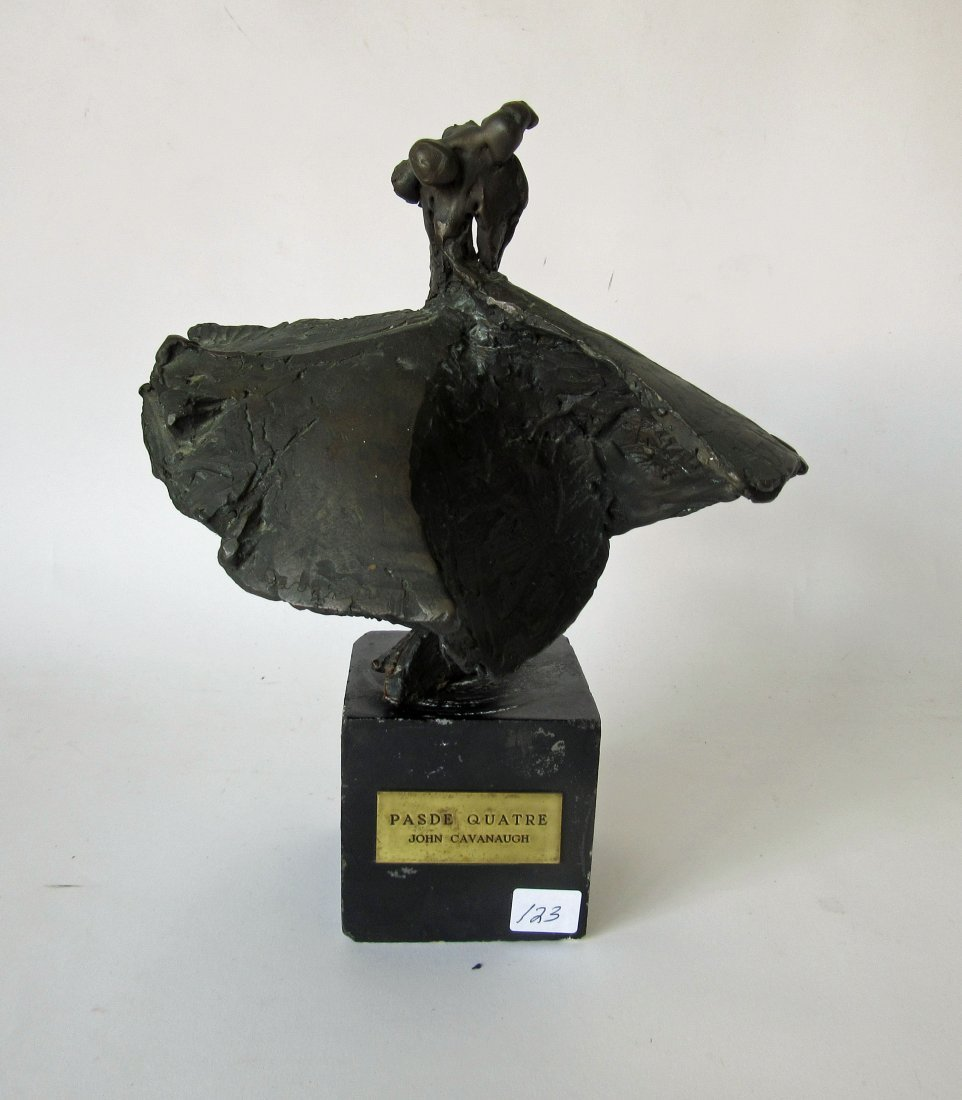 "Bronze sculpture indentified on base, ""Made Quatre,"