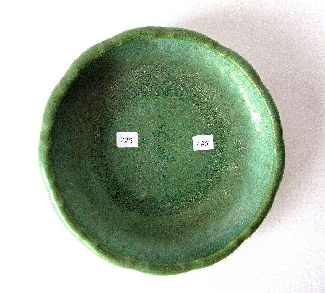 Teco art pottery shallow bowl, 9 inch diameter, marked,