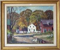 "Otis Cook oil on canvas, ""New England Scene,"" 20 by 24"
