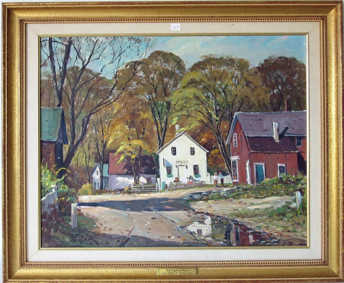 """Otis Cook oil on canvas, """"New England Scene,"""" 20 by 24"""