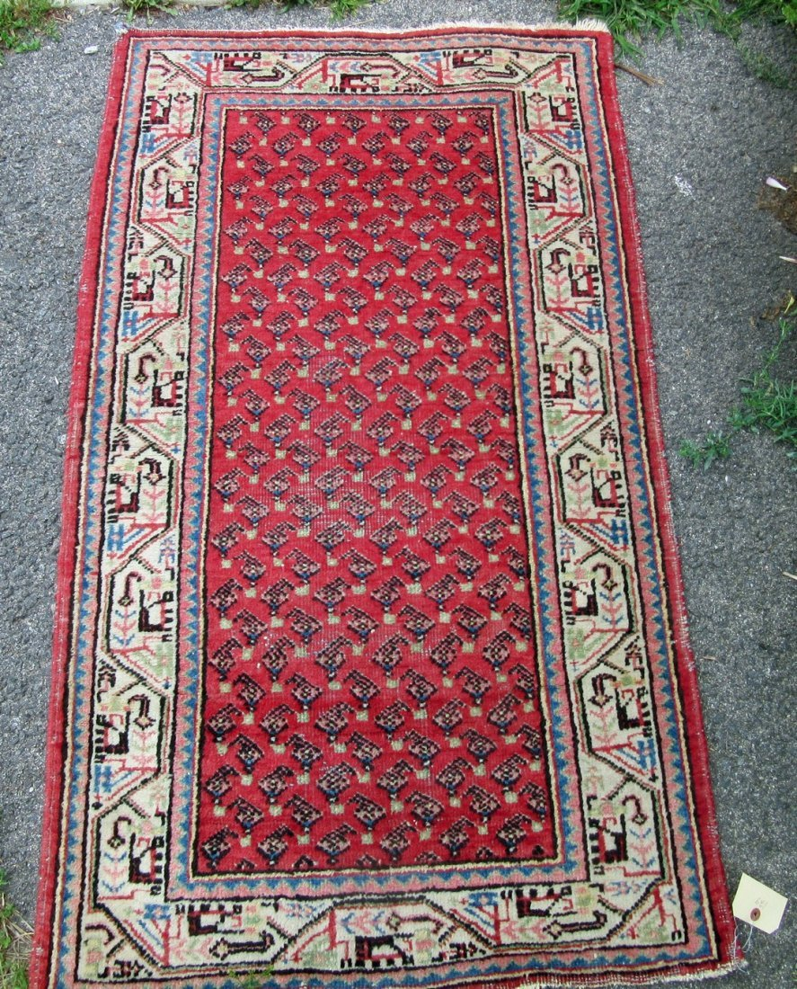 Old Seraband oriental scatter rug, 50 by 30 inches.