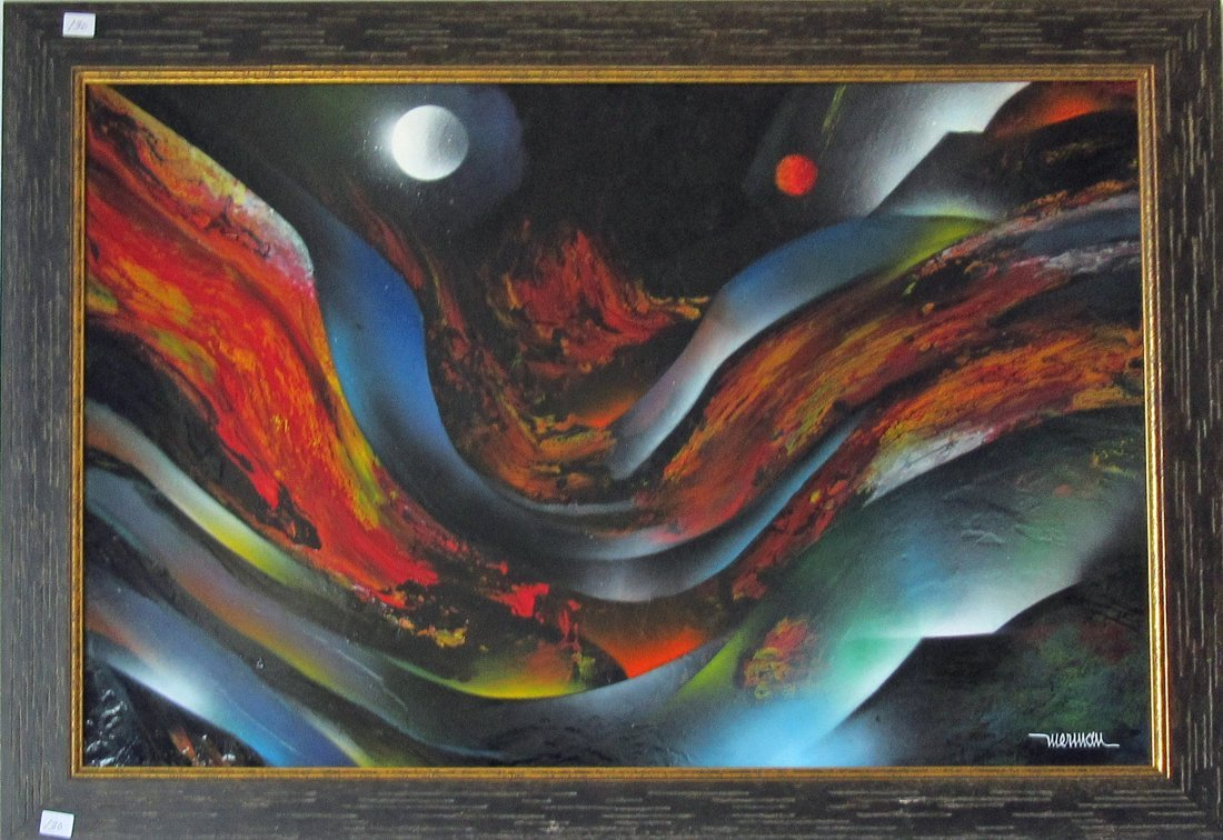 Leroy Nierman oil on board abstract, 19.5 by 29.5