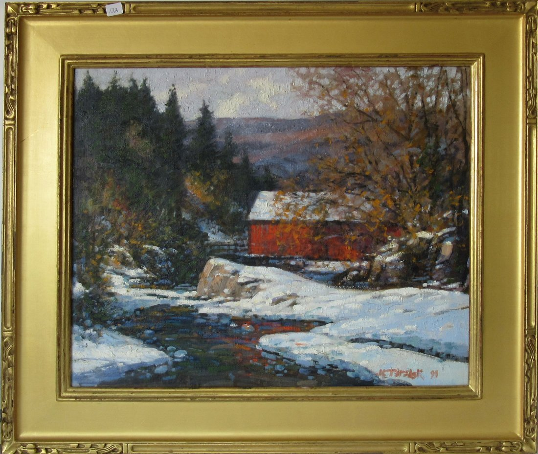 "*John Terelak oil on canvas, ""Covered Bridge,"