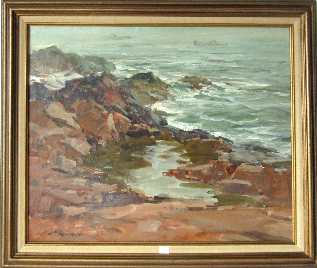 Charles Movalli oil on canvas marine scene with rocky