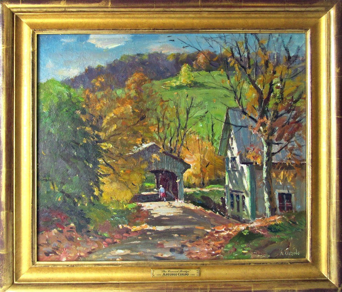 "Antonio Cirino oil on board, ""The Covered Bridge,"" 18"