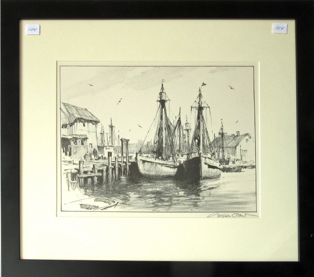 """Gordon Grant lithograph, """"Sunday in Port,"""" 9.75 by 12.5"""