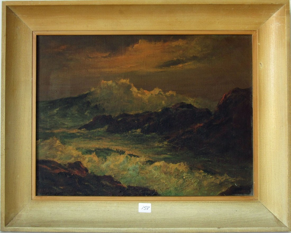 John Hasselbar oil on canvas rocky shore marine scene,