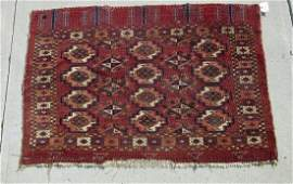 Old Oriental Turkoman scatter rug 35 by 53 inches