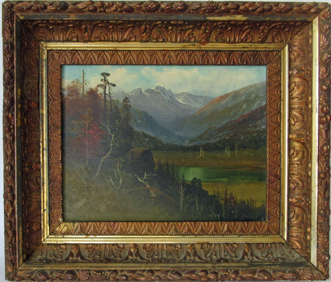Oil on board Western landscape, 9 by 12 inches, framed.