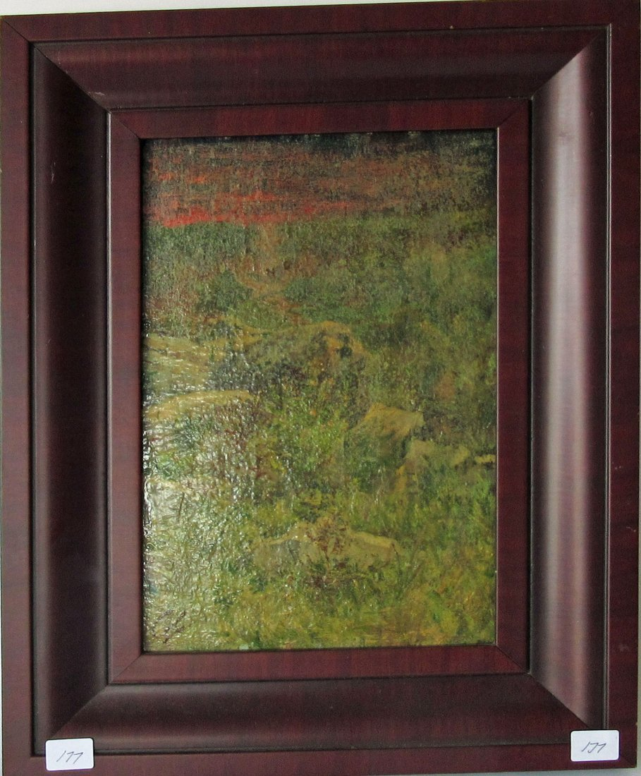 Oil on board abstract landscape, 11 by 7 inches,