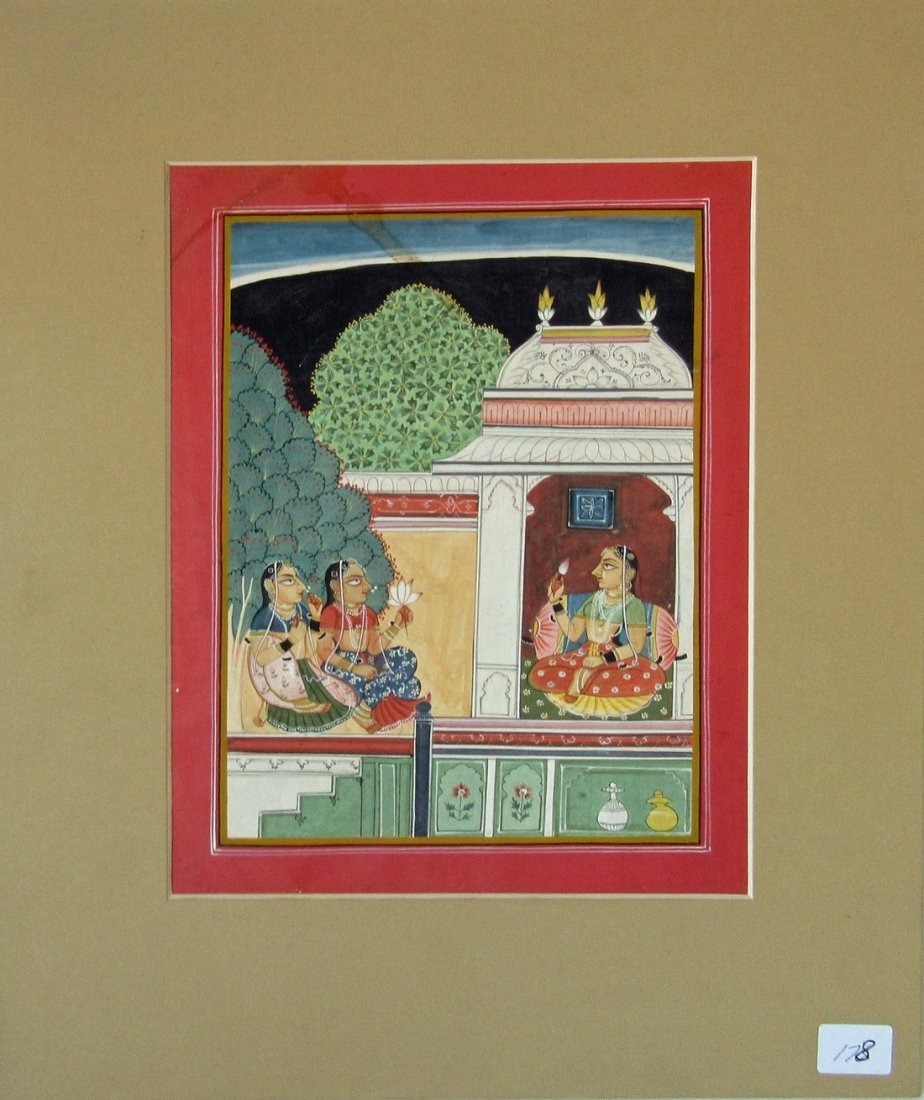 19th century Indian gouache of figures, 10 by 8 inches,