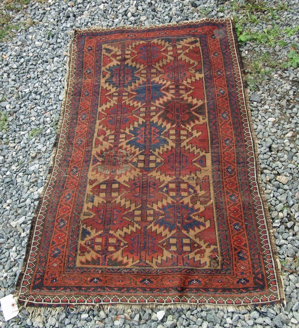 Baluchi scatter rug, 52 by 31 inches. Condition: quite