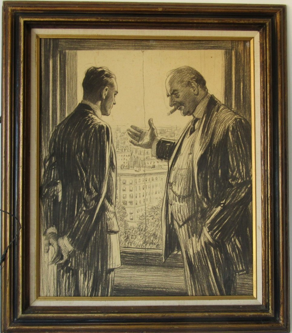 Pencil drawing?? illustration of two business men, 23