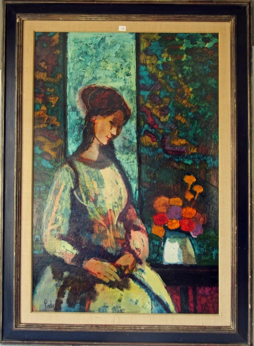 Donald Purdy oil on board view of a lady with flowers,