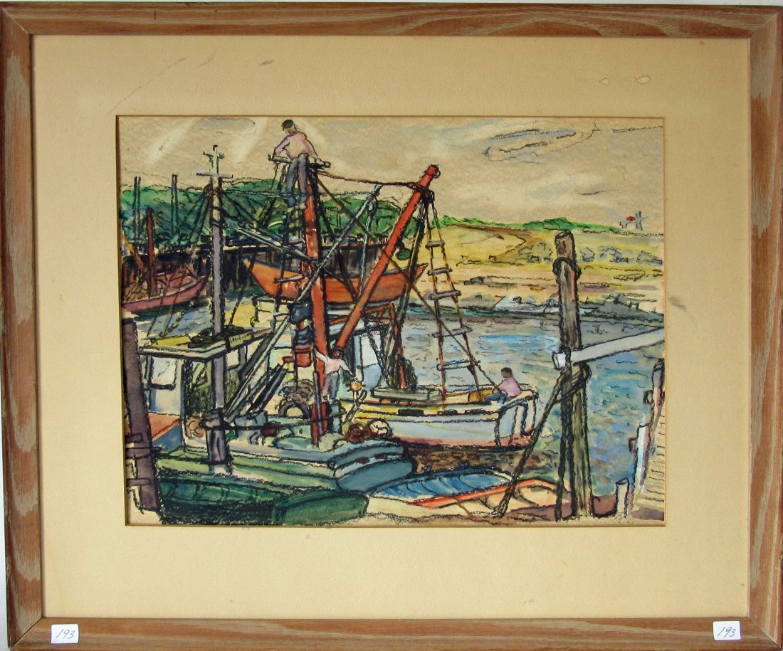Pastel harbor scene, 14 by 18 inches, framed.