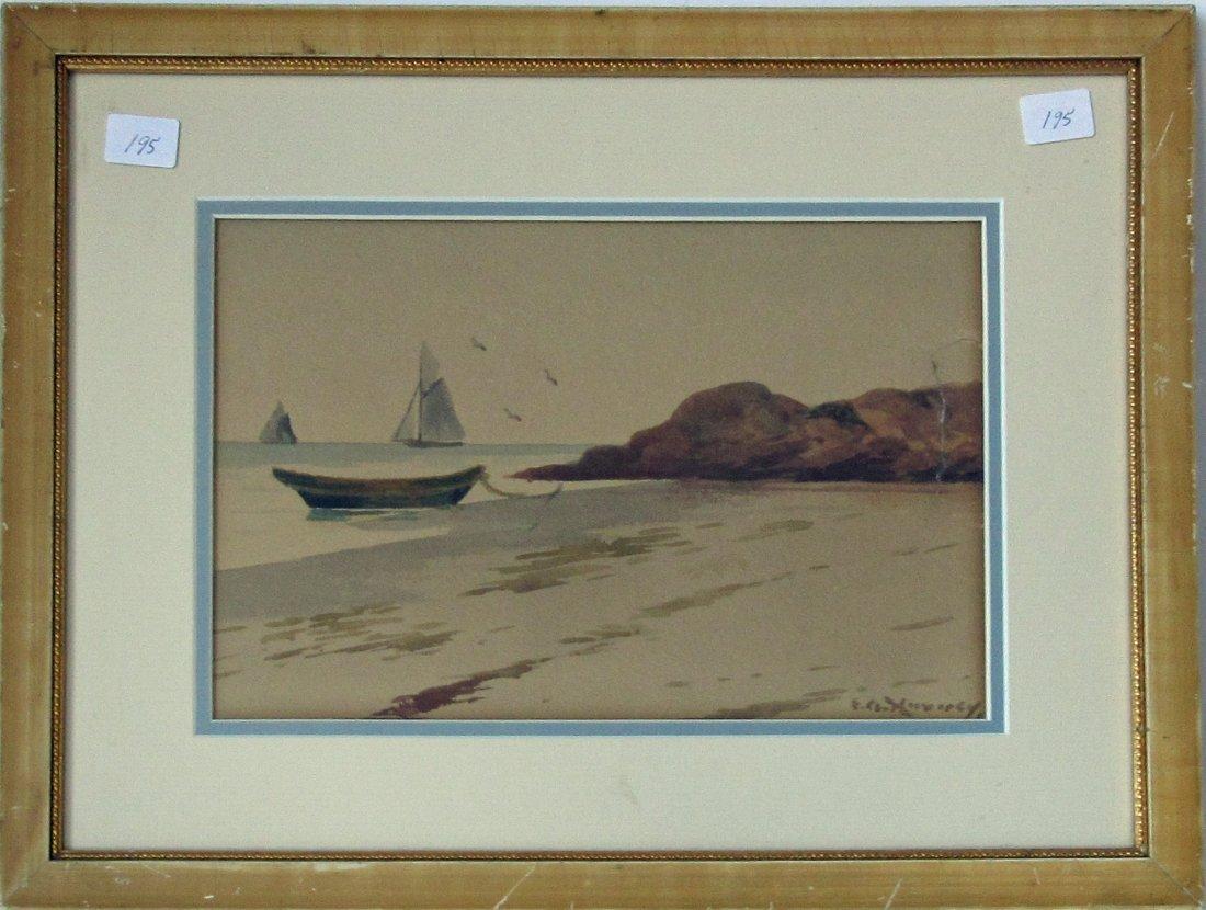 Edward A. Harvey watercolor beach scene with dory, 6.5