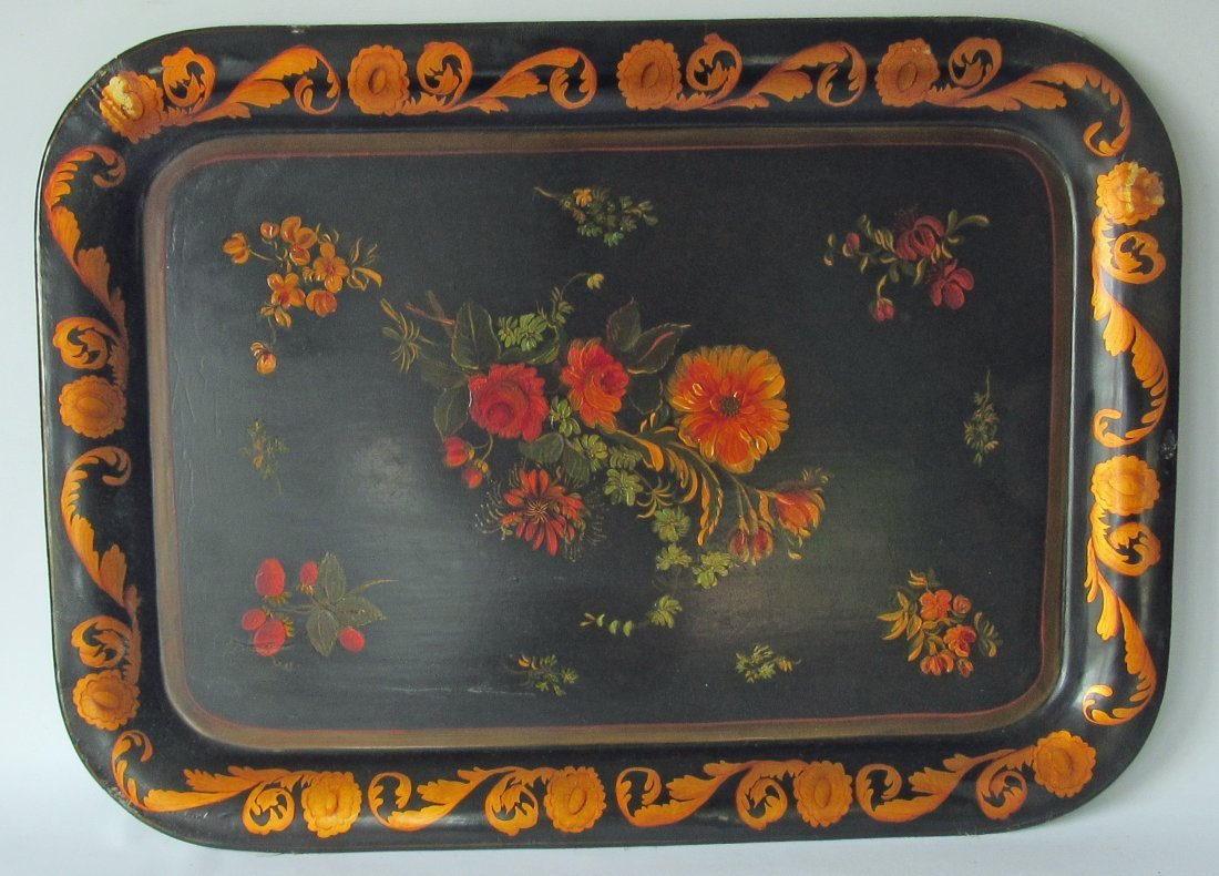 Sally Ann B. Jackson paint decorated tole tray, signed