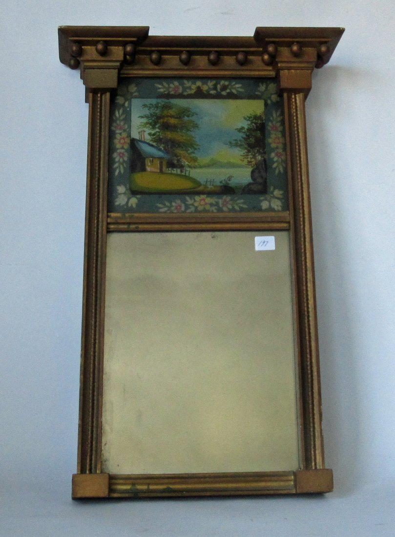Antique Federal mirror with reverse glass painted