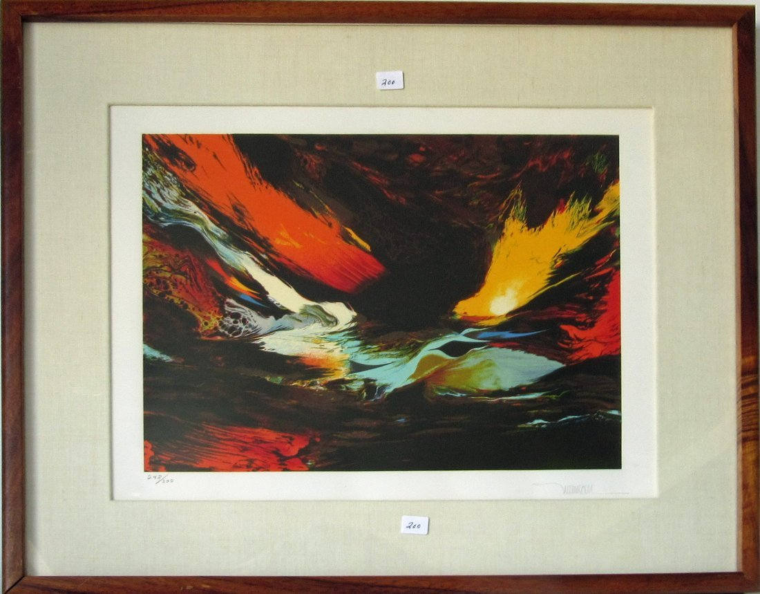 Leonardo Nierman abstract color lithograph, 14 by 18.5