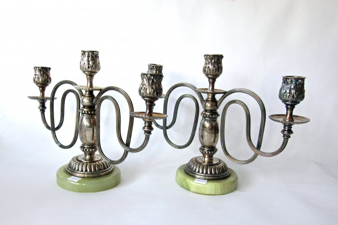 Pair of 3 branch silver plate candlesticks with onyx