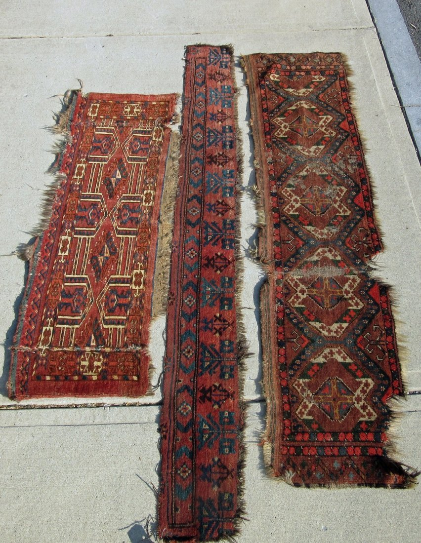 Lot of 3 Turkoman Oriental pieces, longest 74 inches.
