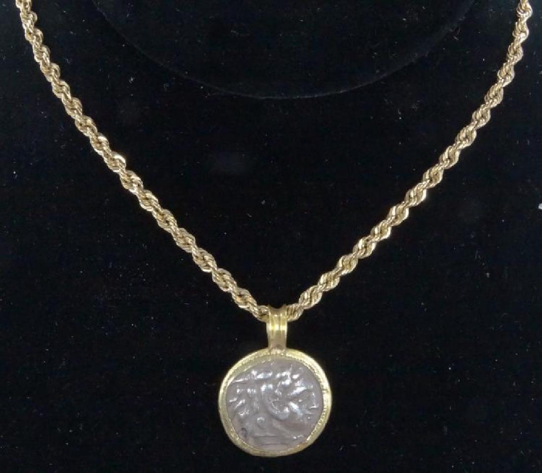 """Grecian Coin, 14K 18"""" Necklace (16.9 Grams)"""