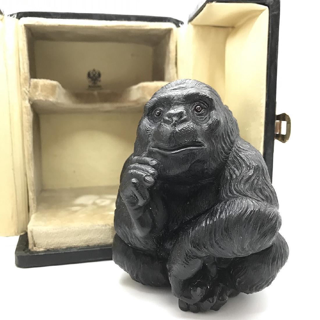 Faberge Black Obsidian Gorilla W/Ruby Eyes in Box