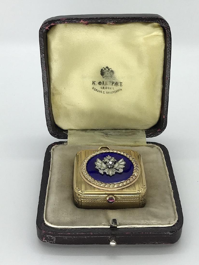 Karl Faberge 14K Gold Pill Box W/Diamond & Enamel