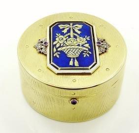 Cartier Ny Artdeco 14k/plat/diam/enamel/ruby Box