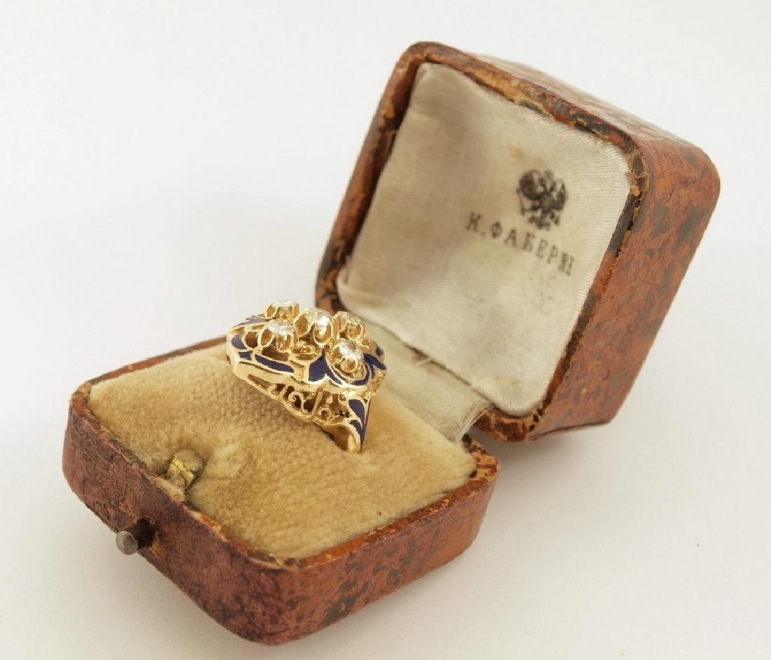 Karl Faberge Mine-Cut Diamond & Enamel Ring