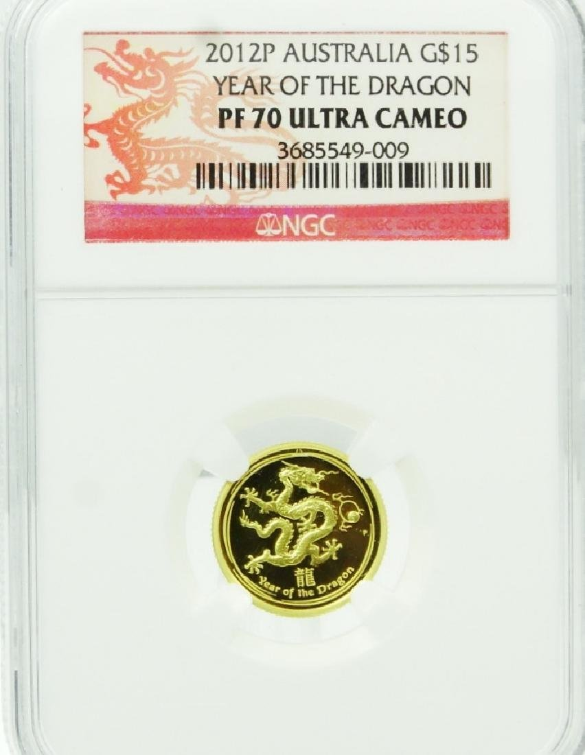 2012P Austrailian $15 Gold Year of the Dragon Coin