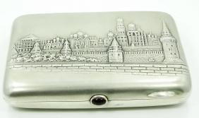20th C.Russian Silver & Gilt Gold Cigarette Case