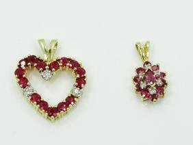 (2) Ruby, Diamond, & 14K Yellow Gold Pendants