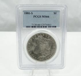 1881-S Morgan Silver Dollar Graded MS66 PCGS Slab