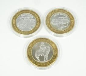 (3) RARE .999 Silver Ltd Ed $10 Gaming Tokens