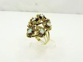 "2ctw Australian Opal 14K ""Lillypad"" Domed Ring"