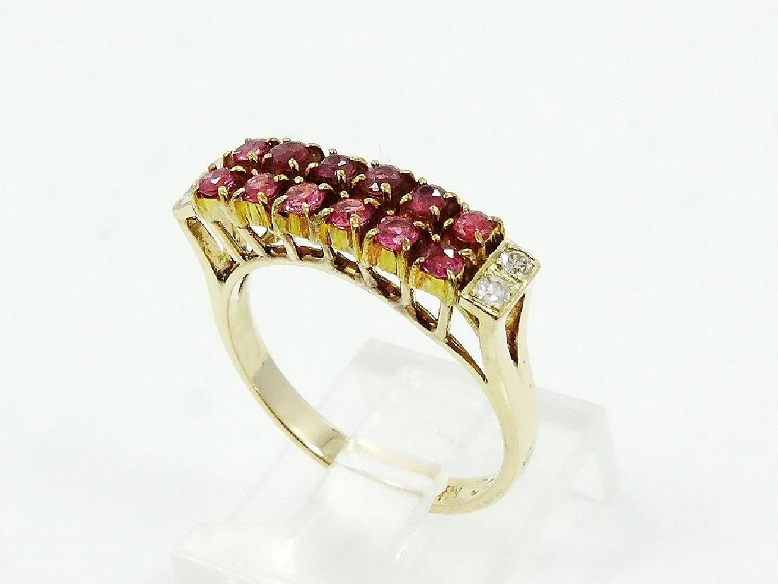 Diamond, Ruby & 14K Gold Ring *Maker's Mark*