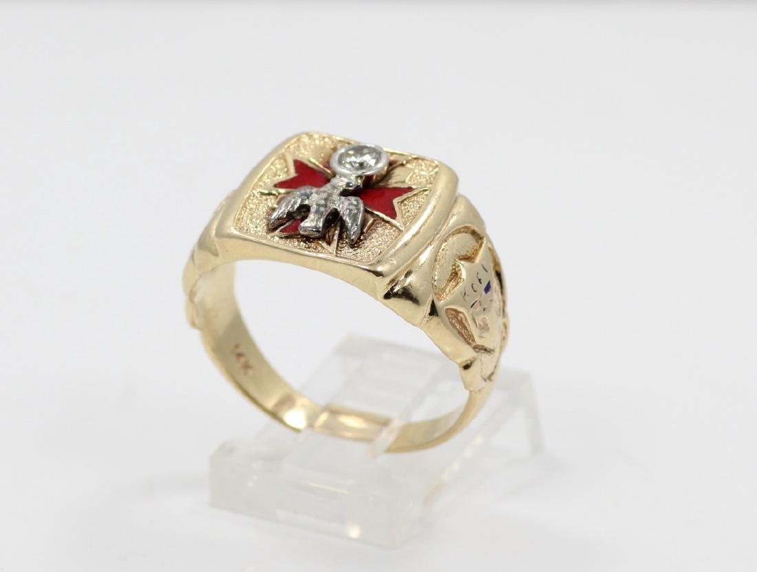 14K Yellow Gold & Diamond Masonic Ring W/Enamel