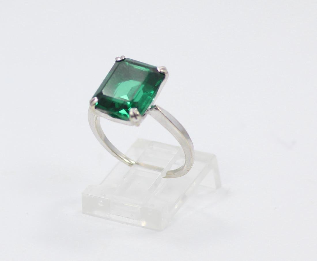 14K Gold Ring W/4.50ct Emerald-Cut Gemstone