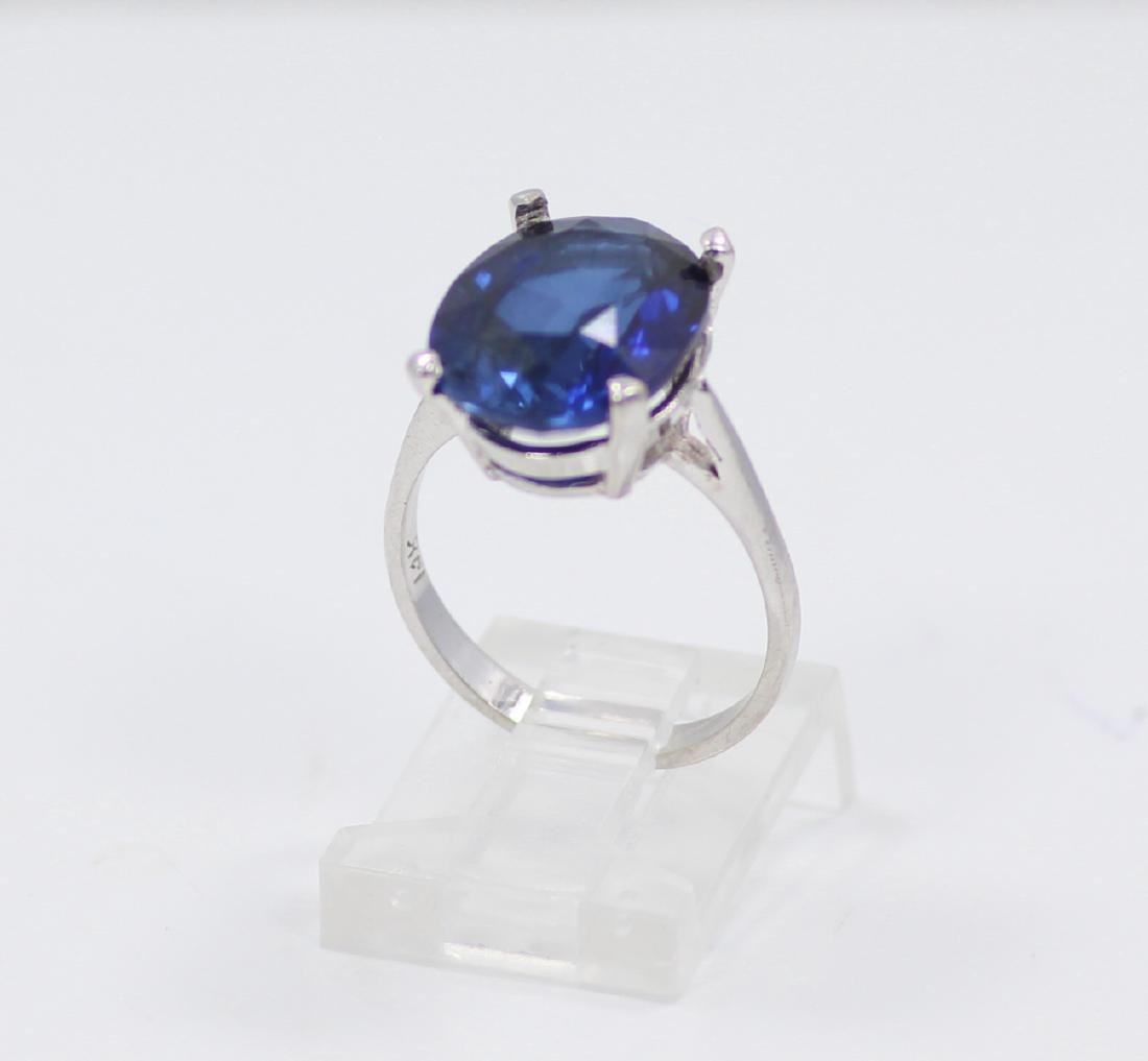 14K Gold Ring W/9ct Oval-Cut Blue Gemstone