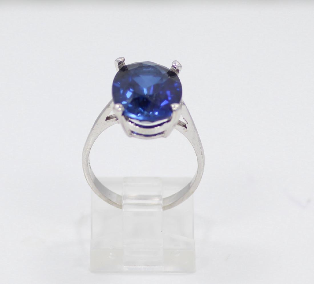 14K Gold Ring W/9ct Oval-Cut Blue Gemstone - 2