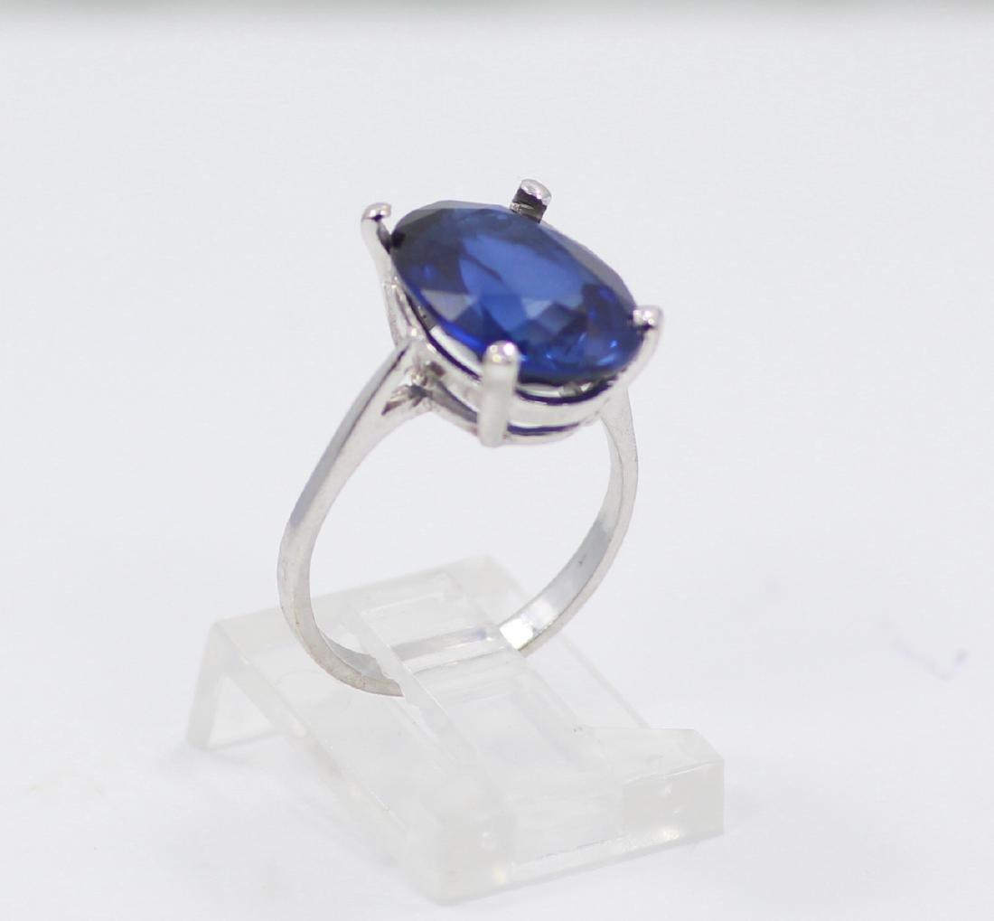 14K Gold Ring W/9ct Oval-Cut Blue Gemstone - 3
