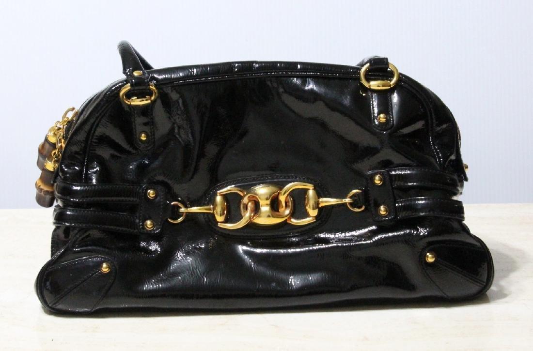 Gucci Black Patent Leather Wave Boston Bag