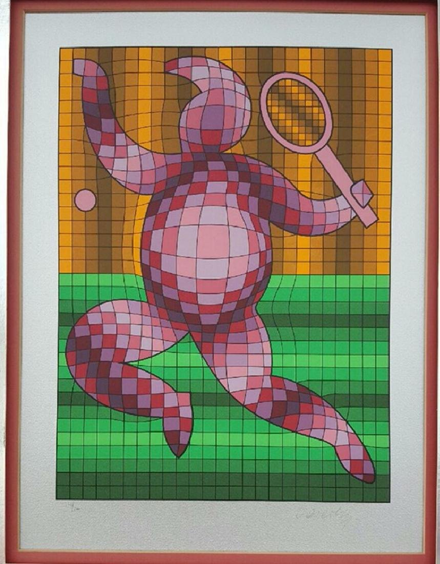 """Victor Vasarely(1906-1997)""""Tennis Player""""103/200"""