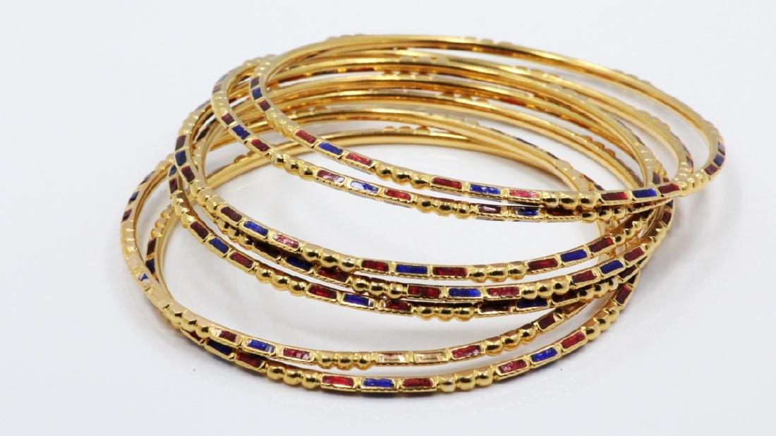 (7)Russian 18K Yellow Gold & Enamel Bracelets