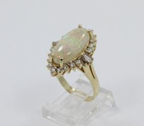 18mm AAA Opal, 1.25ctw Diamond & 14K YG Ring